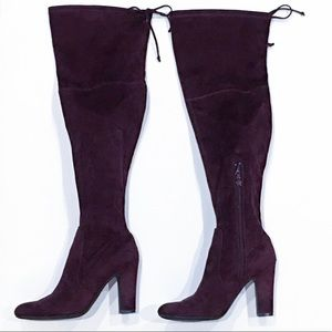 Unisa Plum Faux Suede Over the Knee Boots